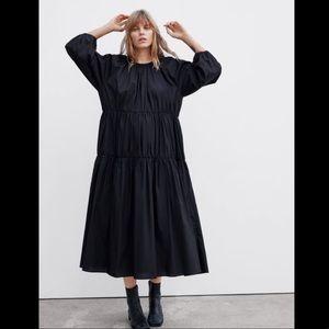Zara NWT black poplin midi dress